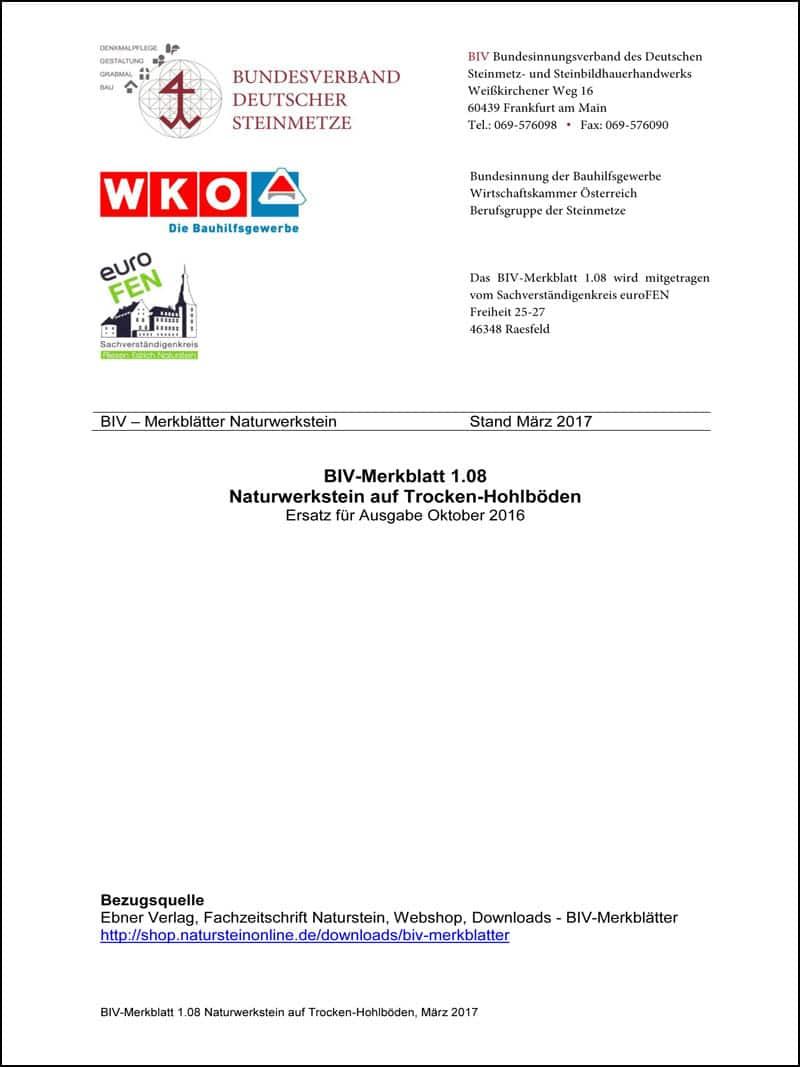 Produkt: BIV-Merkblatt 1.08: Trockenhohlböden (Stand: 2017)