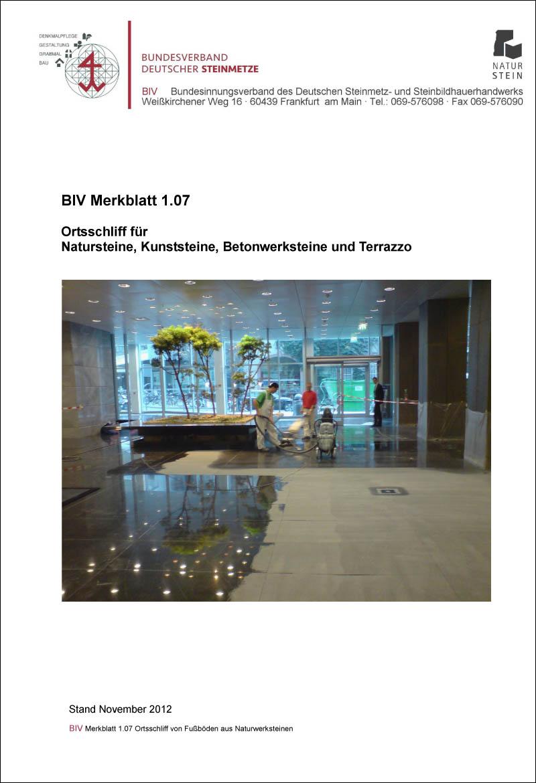Produkt: BIV-Merkblatt Nr. 1.07 Ortsschliff für Natur-, Kunst- und Betonwerkstein