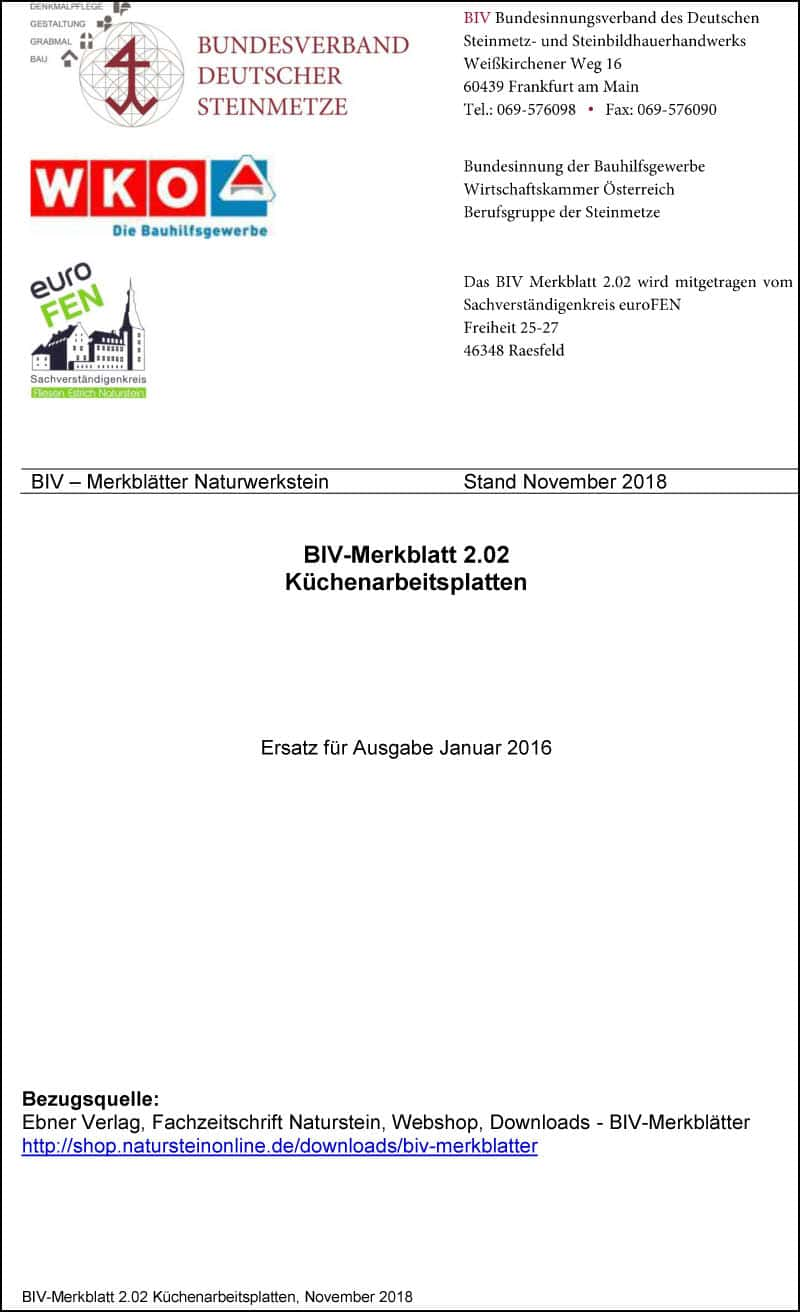 Produkt: BIV-Merkblatt 2.02 Küchenarbeitsplatten (Stand: 2018)