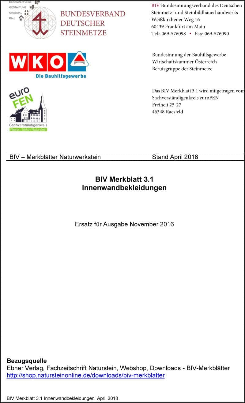 Produkt: BIV-Merkblatt 3.1 Innenwandbekleidungen (Stand: 2018)