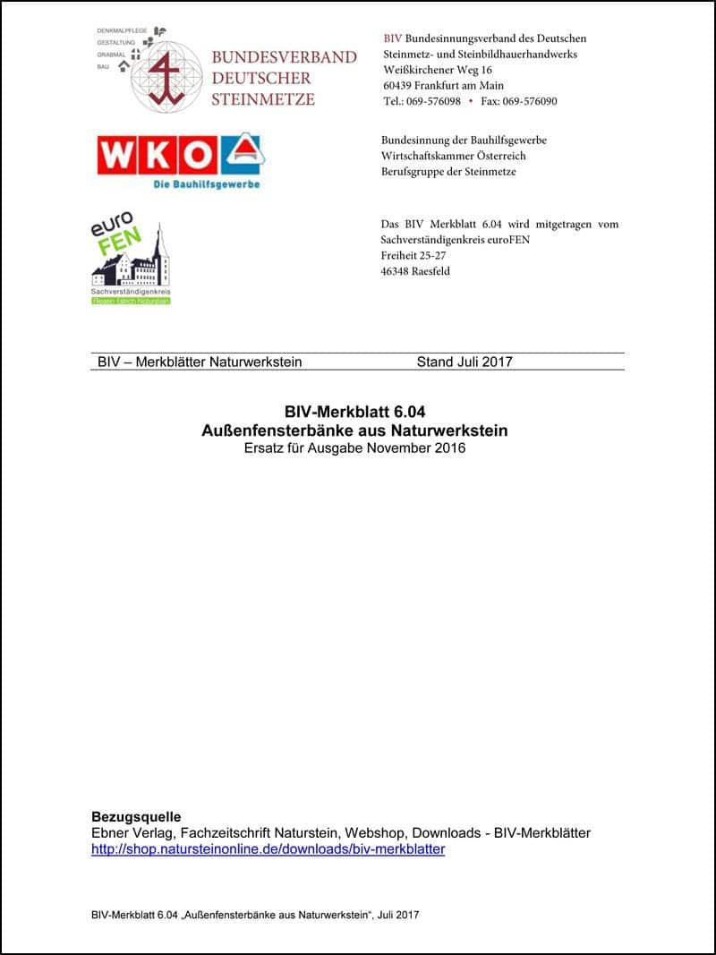 Produkt: BIV-Merkblatt 6.04: Außenfensterbänke aus Naturwerkstein (Stand: 2017)