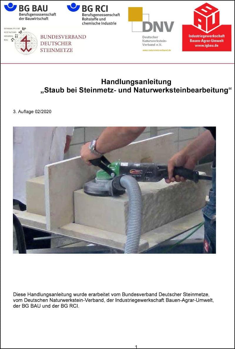 """Produkt: Download Handlungsanleitung """"Staub bei Steinmetz- und Naturwerksteinbearbeitung"""""""