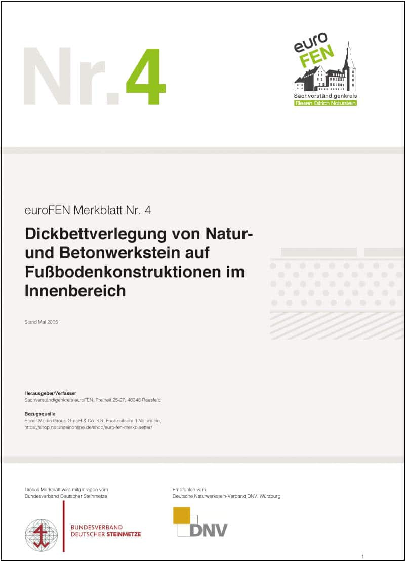 Produkt: euroFEN-Merkblatt Dickbettverlegung auf Fußbodenkonstruktionen innen