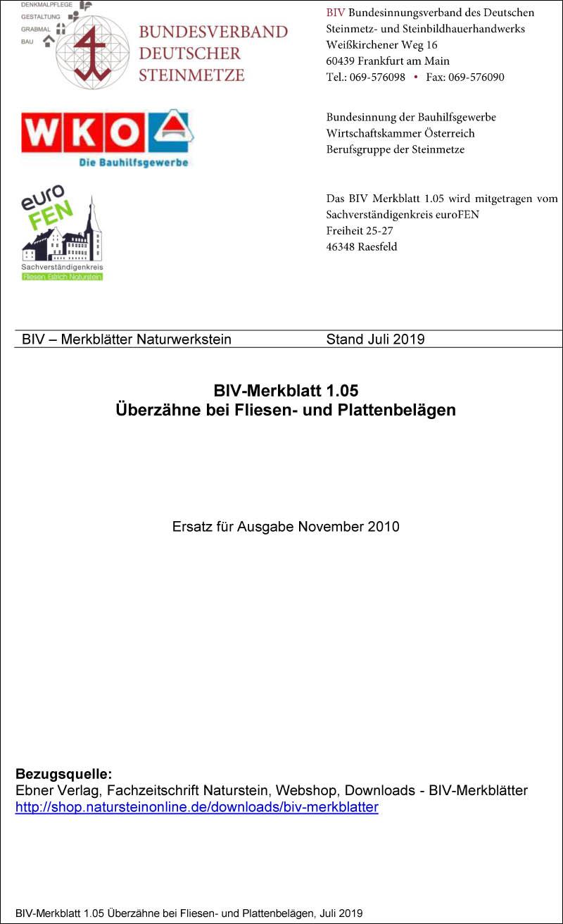 Produkt: BIV-Merkblatt Nr. 1.05 Beurteilung von Überzähnen in Fliesen- und Plattenbelägen