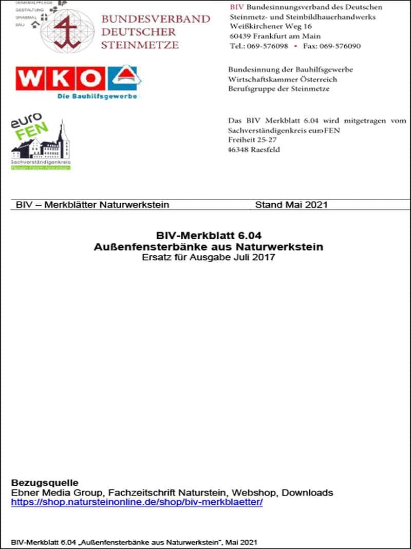 Produkt: BIV-Merkblatt 6.04 Außenfensterbänke aus Naturwerkstein (Stand: 2021)