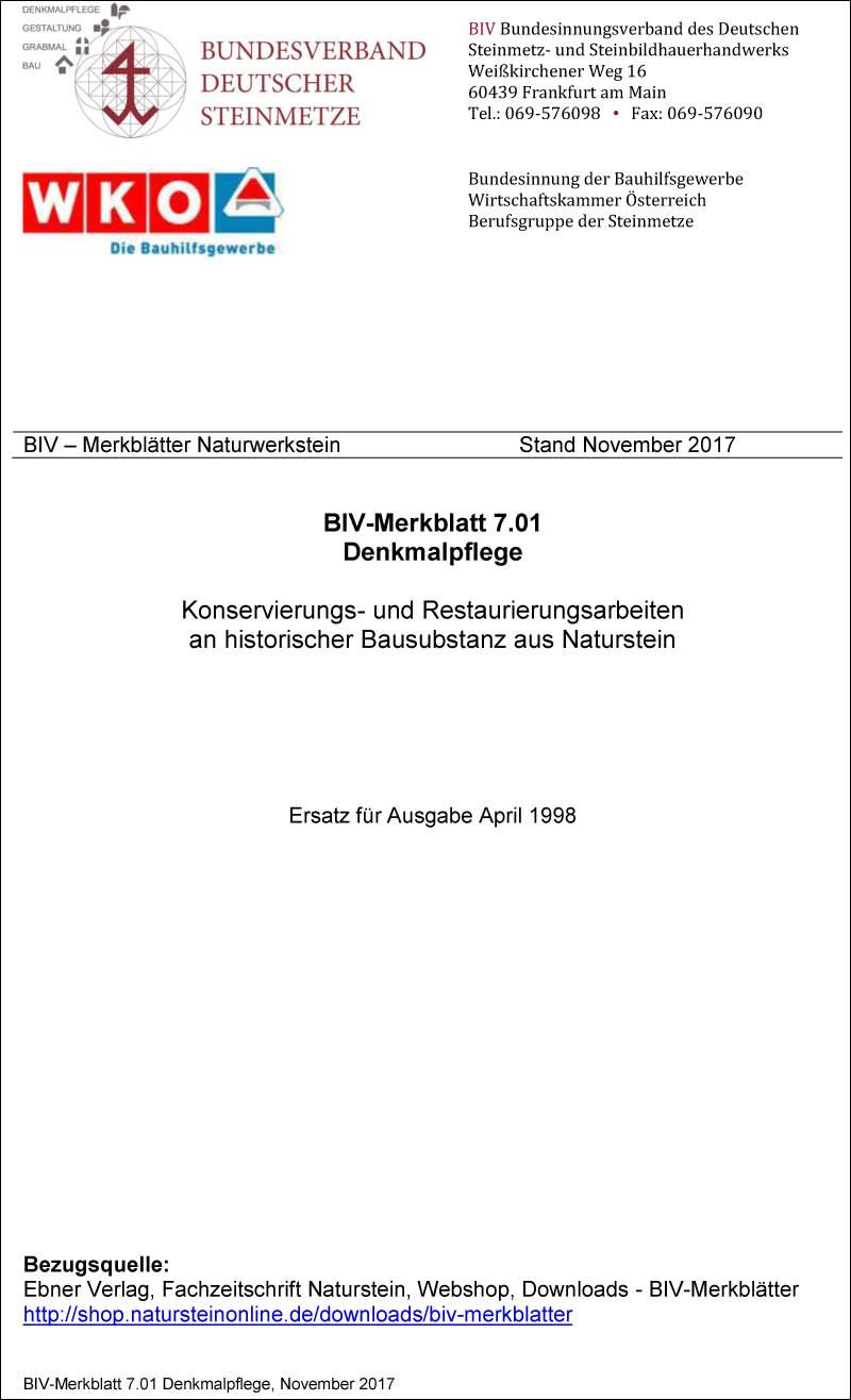 Produkt: BIV-Merkblatt Nr. 7.01 Denkmal-Pflege: Instandhaltungs- und Ergänzungsarbeiten an historischer Bausubstanz