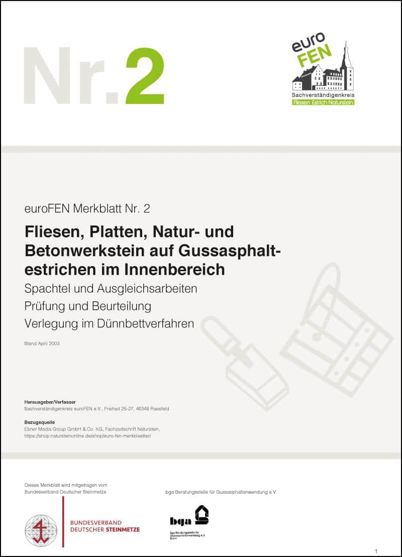Produkt: euroFEN-Merkblatt Fliesen, Platten, Natur- und Betonwerkstein auf Gussasphaltestrichen im Innenbereich