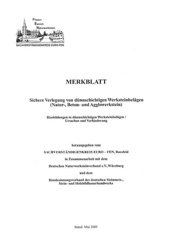 Produkt: euro FEN-Merkblatt Verlegung von dünnschichtigen Werksteinbelägen
