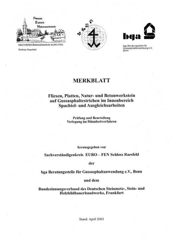 Produkt: euro FEN-Merkblatt Fliesen, Platten, Natur- und Betonwerkstein auf Gussasphaltestrichen im Innenbereich