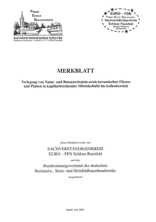 Produkt: euro FEN-Merkblatt Verlegung von Natur-/Betonwerkstein, keramischen Fliesen/Platten in kapillarbrechender Mörtelschicht außen