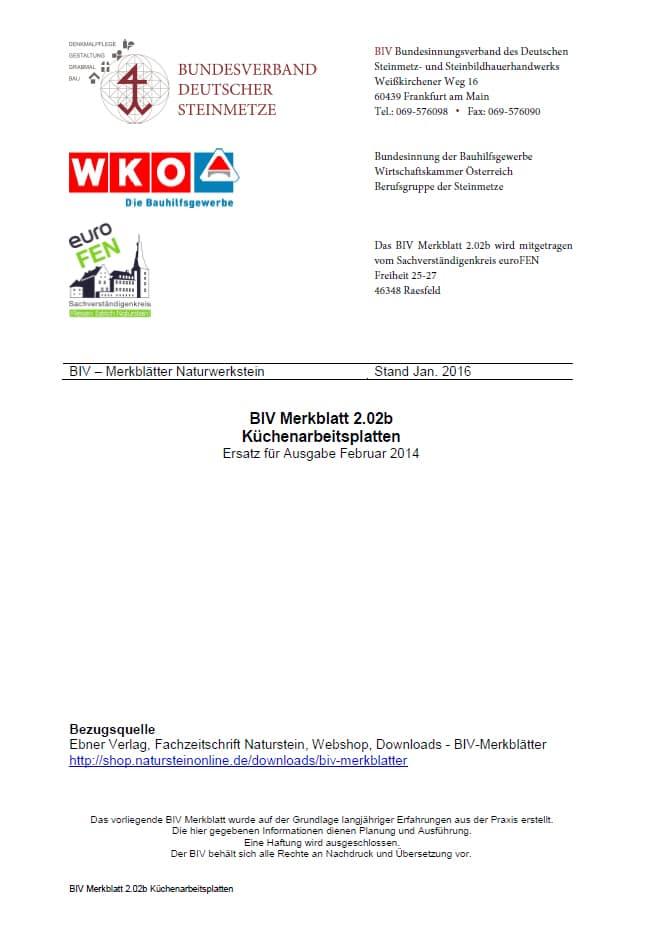 Produkt: BIV-Merkblatt 2.02 b Küchenarbeitsplatten (Stand: 2016)