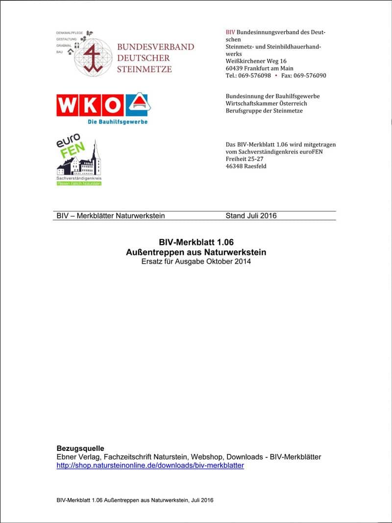 Produkt: BIV-Merkblatt 1.06: Außentreppen aus Naturwerkstein (Stand: Juli 2016)