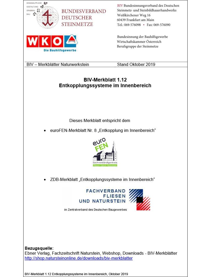 Produkt: BIV-Merkblatt 1.12 Entkopplungssysteme im Innenbereich