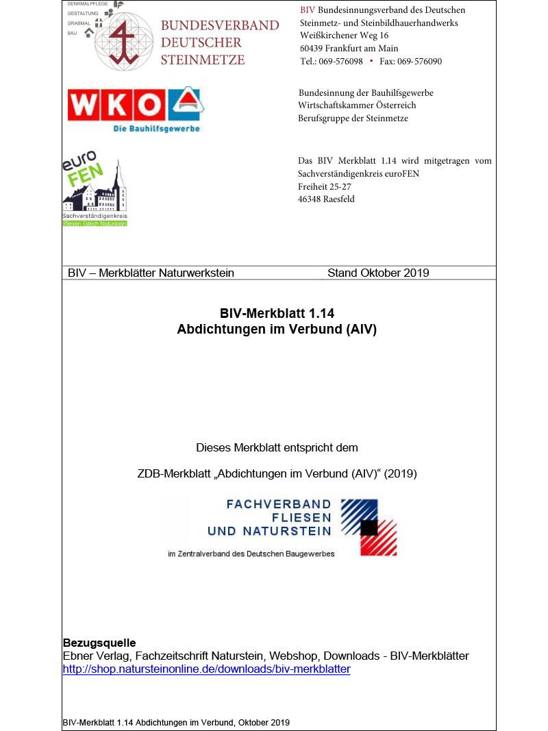 Produkt: BIV-Merkblatt 1.14 Abdichtungen im Verbund (AIV)