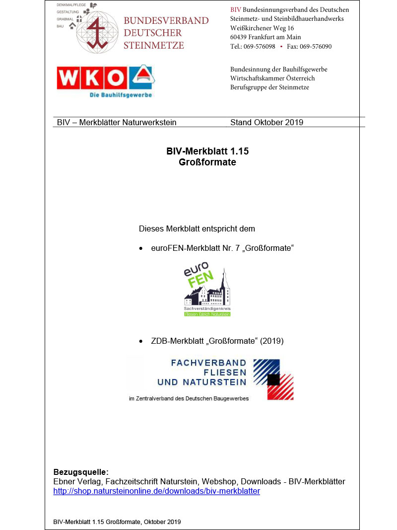 Produkt: BIV-Merkblatt 1.15 Großformate