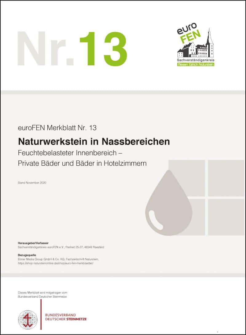 Produkt: euroFEN Merkblatt Nr. 13: Naturwerkstein in Nassbereichen